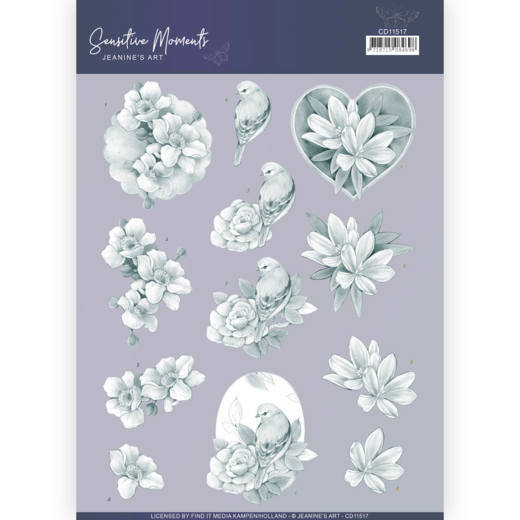 3D Cutting Sheet - Jeanine's Art - Sensitive Moments - Grey Rose