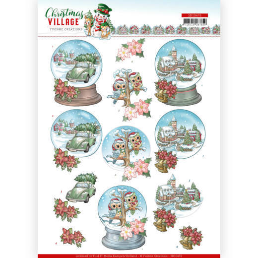 3D Push Out - Yvonne Creations - Christmas Village - Christmas Globes