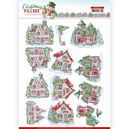 3D Push Out - Yvonne Creations - Christmas Village - Christmas Houses