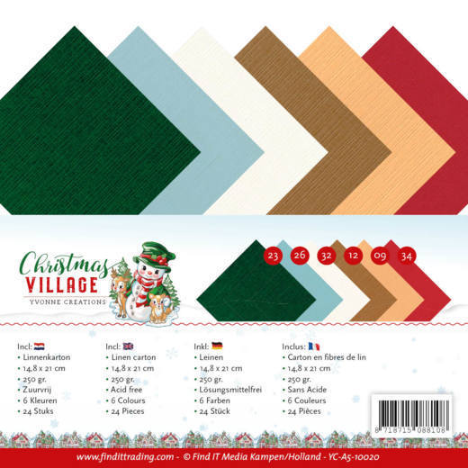 Linen Cardstock Pack - A5 - Yvonne Creations - Christmas Village