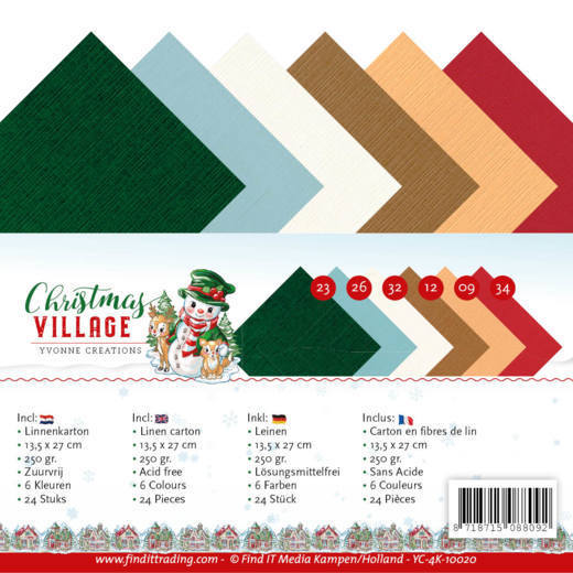 Linen Cardstock Pack - 4K - Yvonne Creations - Christmas Village