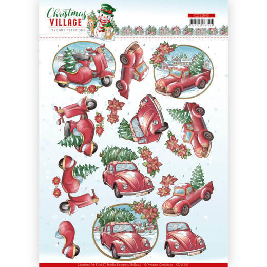 3D cutting sheet - Yvonne Creations - Christmas Village - Christmas Transportation
