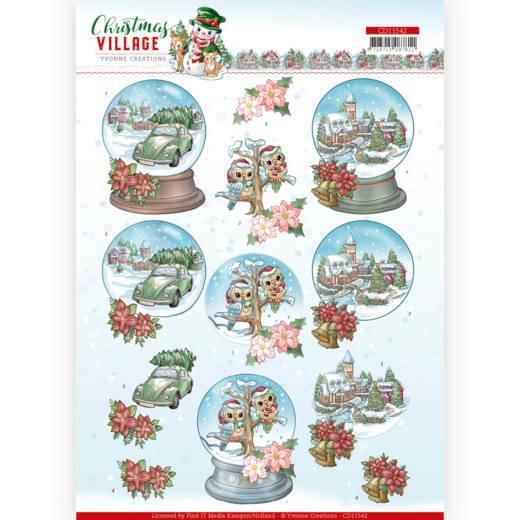 3D cutting sheet - Yvonne Creations - Christmas Village - Christmas Globes