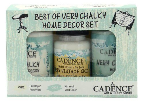 Cadence Very Chalky Home Decor set Puur wit - Mold - groen 01 002 0001 909050 90+90+50 ml (07-20)
