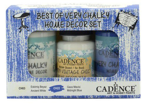 Cadence Very Chalky Home Decor set Oud wit - Nachtblauw 01 002 0010 909050 90+90+50 ml (07-20)