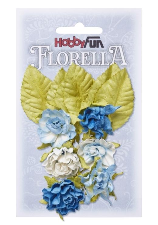 FLORELLA-Blüten&Blätter blau, 3cm