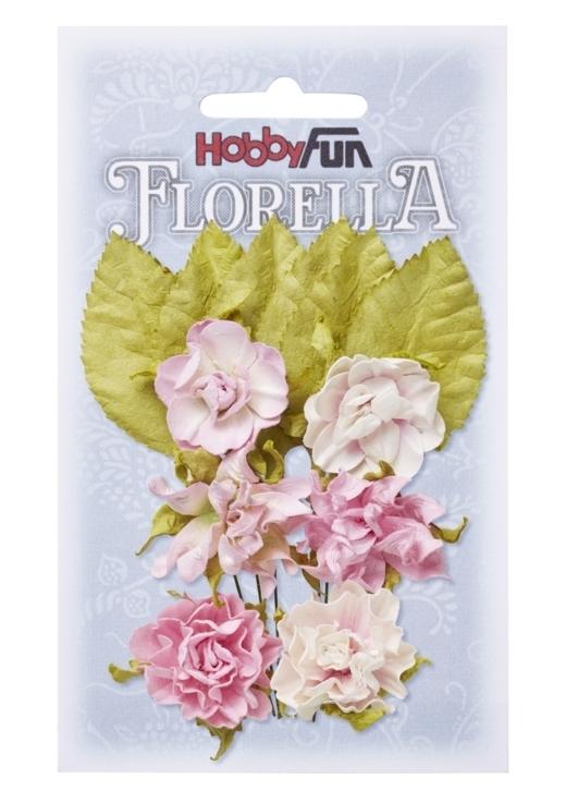 FLORELLA-Blüten&Blätter zartrosa, 3cm