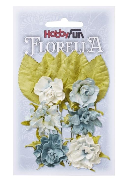 FLORELLA-Blüten&Blätter hellblau, 3cm