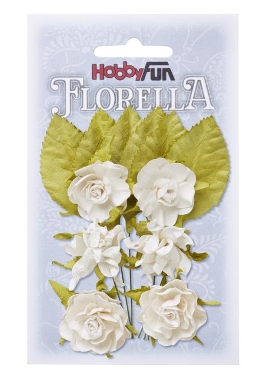 FLORELLA-Blüten&Blätter weiss, 3cm