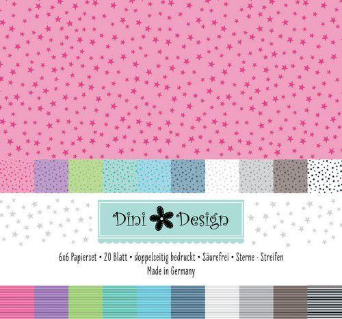 Dini Design 6x6 Paper Pack 20 vl - Streep - Ster 15x15 cm #4007 (07-20)