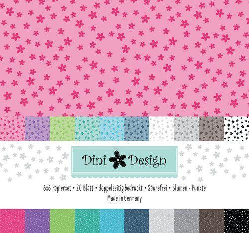 Dini Design 6x6 Paper Pack 20 vl - Stippen - Bloemen 15x15 cm #4008 (07-20)