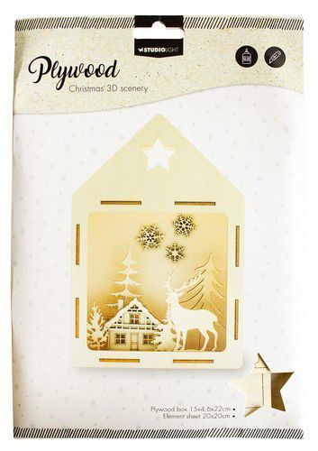 Studio light Plywood Scenery Deer in the Forest nr 13 PWSL13 (08-20)