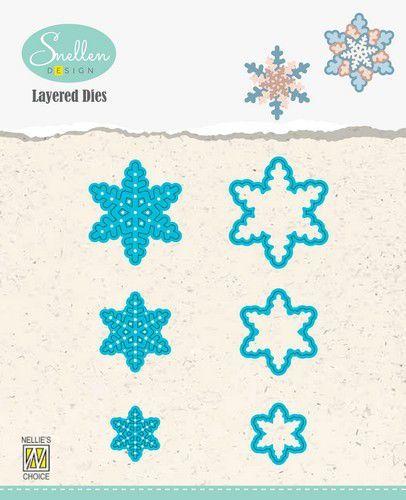 Nellies Choice Layered Die - sneeuwvlokken 01 LDSF001 30x34/23x26/16x18mm (08-20)