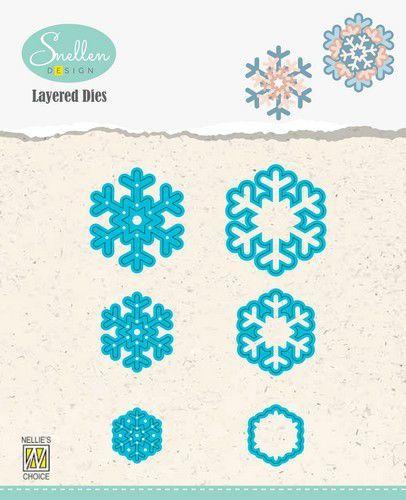 Nellies Choice Layered Die - sneeuwvlokken 02 LDSF002 31x34/23x26/16x18mm (08-20)