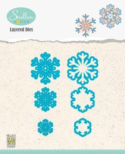 Nellies Choice Layered Die - sneeuwvlokken 03 LDSF003 31x34/23x26/16x18mm (08-20)