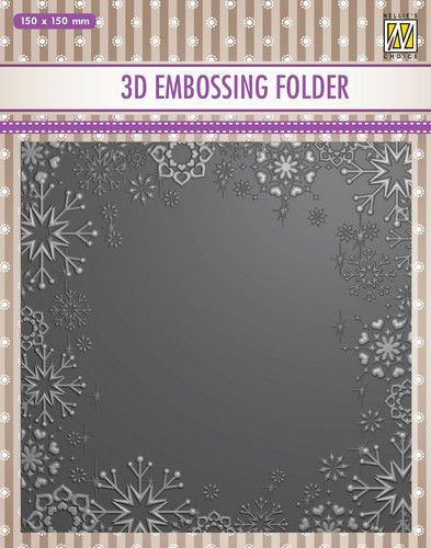 Nellies Choice 3D Emb. folder Sneeuwvlok frame EF3D015 150x150mm (08-20)