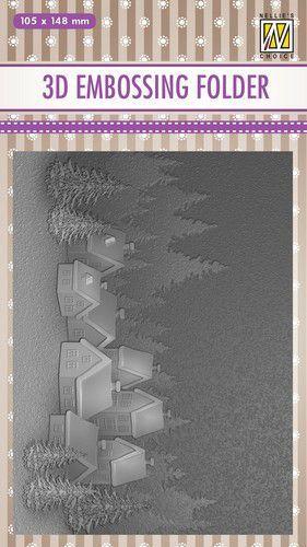 Nellies Choice 3D Emb. folder Besneeuwd dorp EF3D017 105x148mm (08-20)