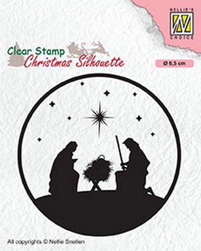 Nellies Choice Christmas Silhouette Clearstamp - Nativity-3 CSIL014 diam. 65mm (07-20)