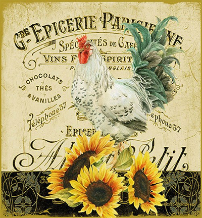 Rooster & Sunflowers