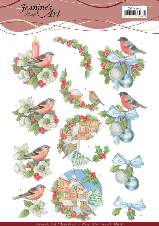 3D Cutting Sheet -Jeanine's Art -Christmas Birds