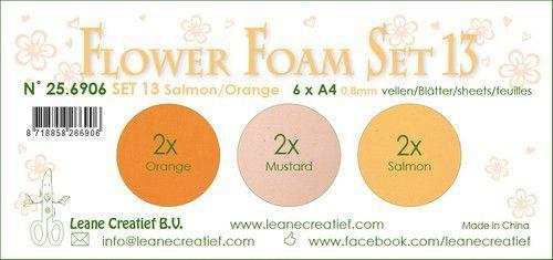 LeCrea - Flower Foam set 13 6 vl 3x2 Zalm-Oranje 25.6906 A4 (09-20)