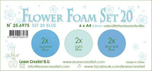 LeCrea - Flower Foam set 20 6 vl 3x2 Blauw 25.6975 A4 (09-20)