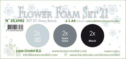 LeCrea - Flower Foam set 21 6 vl 3x2 Grijs-Zwart 25.6982 A4 (09-20)