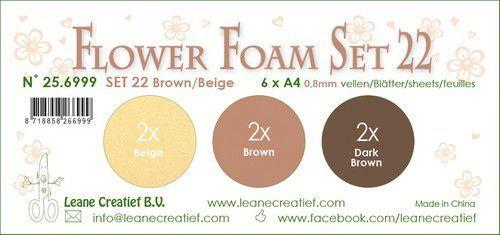LeCrea - Flower Foam set 22 6 vl 3x2 Bruin-Beige 25.6999 A4 (09-20)