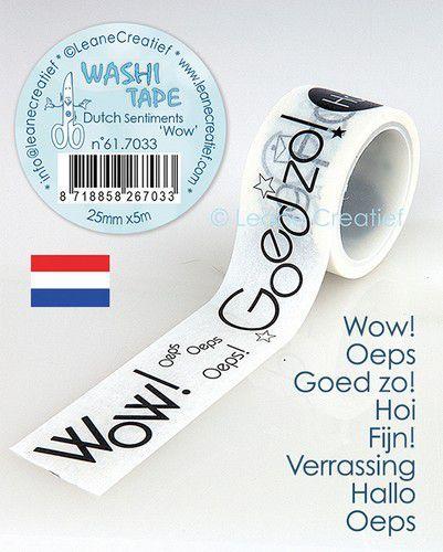 LeCrea - Washi tape Nederlandse teksten 1 Wow 25mmx5m. 61.7033 (09-20)