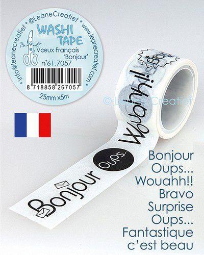 LeCrea - Washi tape Franse teksten 1 Bonjour 25mm x5m. 61.7057 (09-20)