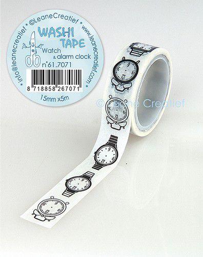 LeCrea - Washi tape Horloge & alarm klok 15mmx5m. 61.7071 (09-20)