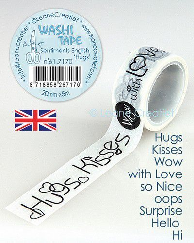 LeCrea - Washi tape Engelse teksten Hugs 20mmx5m. 61.7170 (09-20)
