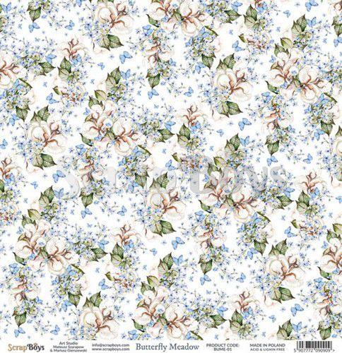 ScrapBoys Butterfly Meadow paper sheet DZ BUME-01 190gr 30,5 x 30,5cm (07-20)