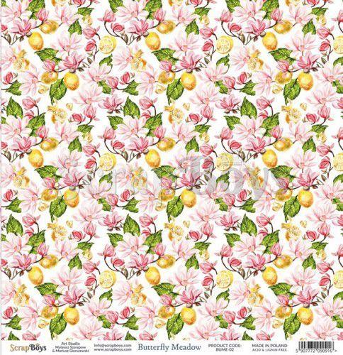 ScrapBoys Butterfly Meadow paper sheet DZ BUME-02 190gr 30,5 x 30,5cm (07-20)