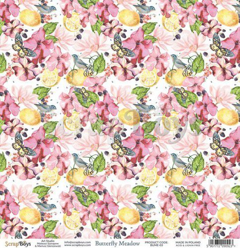ScrapBoys Butterfly Meadow paper sheet DZ BUME-03 190gr 30,5 x 30,5cm (07-20)