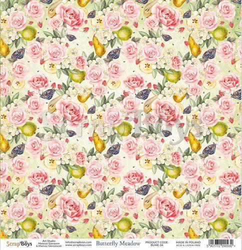 ScrapBoys Butterfly Meadow paper sheet DZ BUME-04 190gr 30,5 x 30,5cm (07-20)