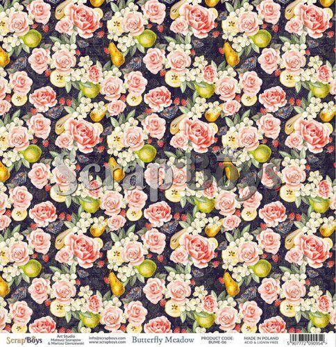 ScrapBoys Butterfly Meadow paper sheet DZ BUME-06 190gr 30,5 x 30,5cm (07-20)