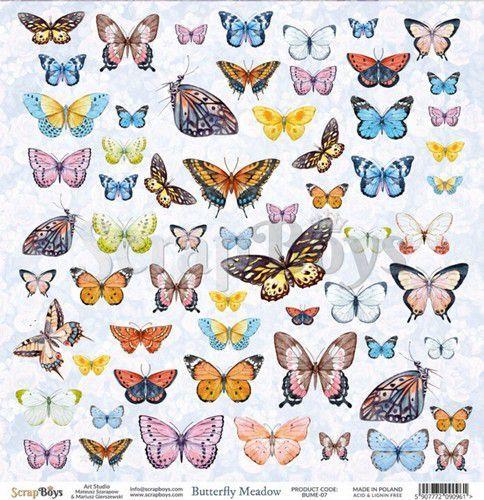 ScrapBoys Butterfly Meadow paper cut out elements DZ BUME-07 190gr 30,5 x 30,5cm (07-20)