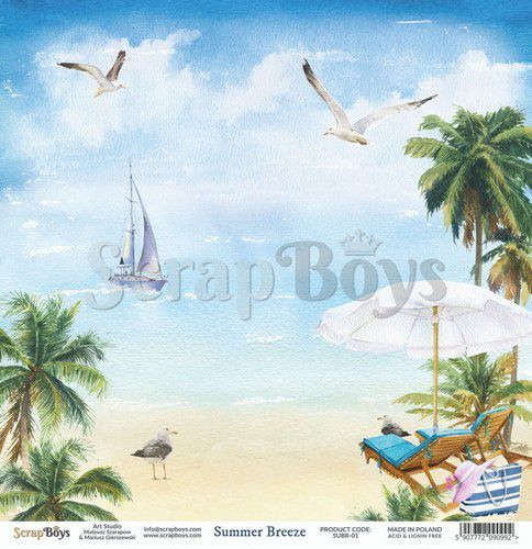 ScrapBoys Summer Breeze paper sheet DZ SUBR-01 190gr 30,5 x 30,5cm (07-20)
