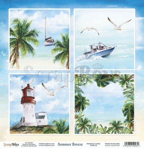 ScrapBoys Summer Breeze paper sheet DZ SUBR-05 190gr 30,5 x 30,5cm (07-20)