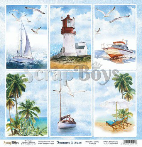 ScrapBoys Summer Breeze paper sheet DZ SUBR-06 190gr 30,5 x 30,5cm (07-20)