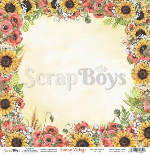 ScrapBoys Sunny Village paper sheet DZ SUVI-02 190gr 30,5 x 30,5cm (07-20)