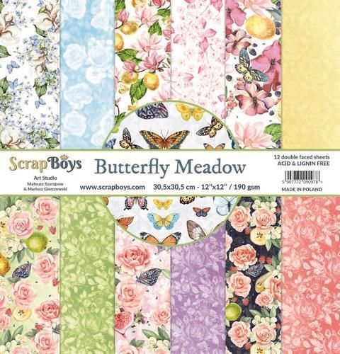 ScrapBoys Butterfly Meadow paperset 12 vl+cut out elements-DZ BUME-08 190gr 30,5 x 30,5cm (07-20)