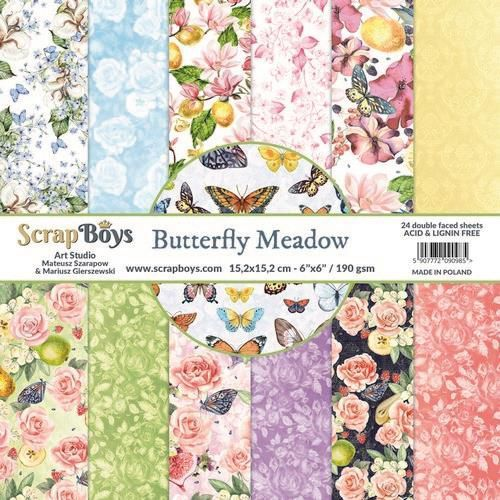 ScrapBoys Butterfly Meadow paperpad 24 vl+cut out elements-DZ BUME-09 190gr 15,2 x 15,2cm (07-20)