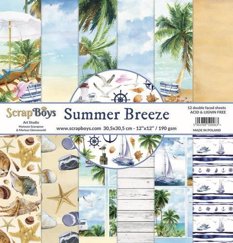 ScrapBoys Summer Breeze paperset 12 vl+cut out elements-DZ SUBR-08 190gr 30,5 x 30,5cm (07-20)