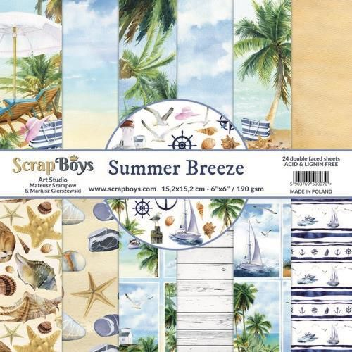ScrapBoys Summer Breeze paperpad 24 vl+cut out elements-DZ SUBR-09 190gr 15,2 x 15,2cm (07-20)