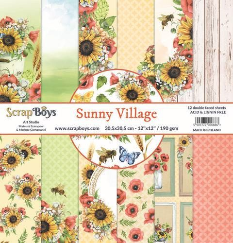 ScrapBoys Sunny Village paperset 12 vl+cut out elements-DZ SUVI-08 190gr 30,5 x 30,5cm (07-20)