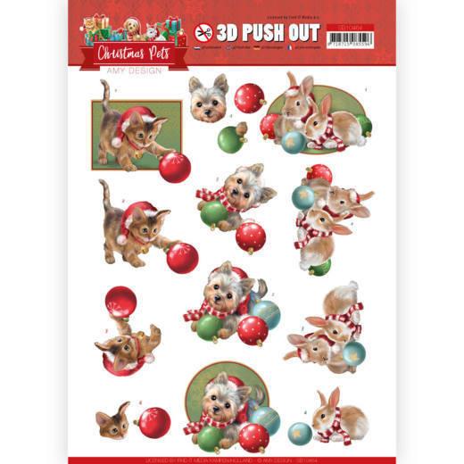 3D Push Out - Amy Design - Christmas Pets - Christmas balls