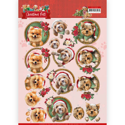 3D Cutting Sheet - Amy Design - Christmas Pets - Christmas dogs