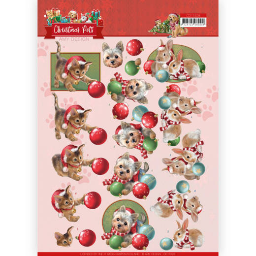 3D Cutting Sheet - Amy Design - Christmas Pets - Christmas balls